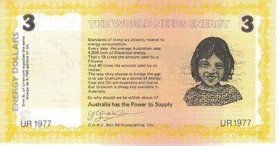 Australia $3  Propaganda Cinderella Note Energy Dollars - Pro Uranium UR1977 2