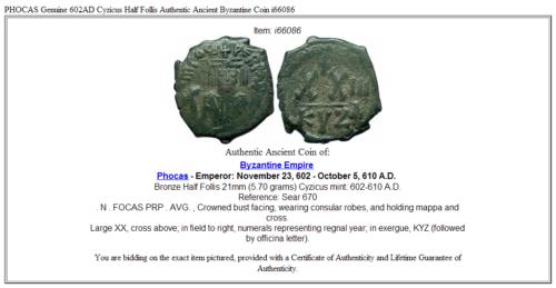 PHOCAS Genuine 602AD Cyzicus Half Follis Authentic Ancient Byzantine Coin i66086 3