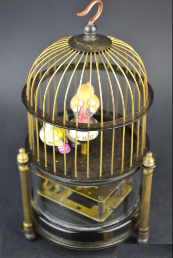 Rare brass bird cage Mechanical Table Clock Alarm Clock 7