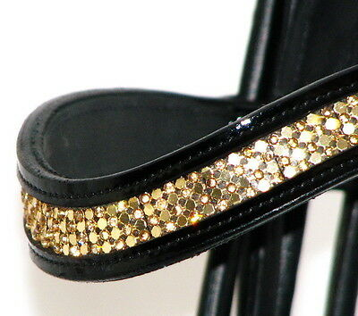 FSS SHINING Curve U GOLD CRYSTAL BLING Rolled Crank Comfort PATENT GLOSS Bridle