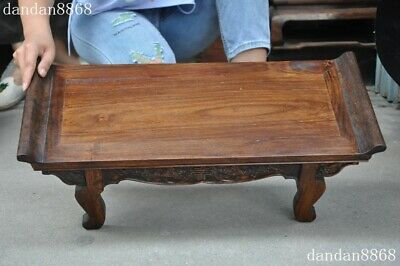 Old Chinese dynasty Huahuali Wood Carved Feng Shui animal bat Ancient Desk table 9