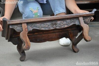 Old Chinese dynasty Huahuali Wood Carved Feng Shui animal bat Ancient Desk table 10