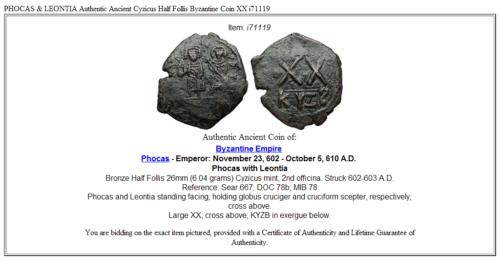 PHOCAS & LEONTIA Authentic Ancient Cyzicus Half Follis Byzantine Coin XX i71119 3