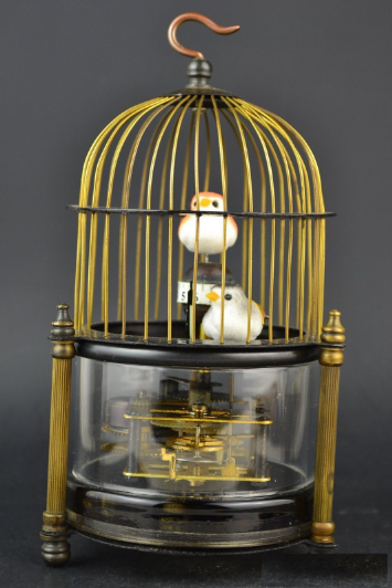 Rare brass bird cage Mechanical Table Clock Alarm Clock 2