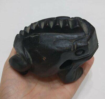 """Vintage Hand Carved Frog Dark Black Wooden Wood Statue Decor Figurine Figure 4"""" 6"""