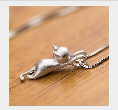 "18"" Chain Sterling Silver Love Cute Cat Kitty Pendant Necklace Gift Box A17"