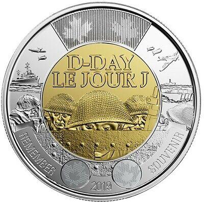 4 Canada coins: 2019 D-Day & 2018 Armistice Color & No-Color Toonie $2 BU UNC 3