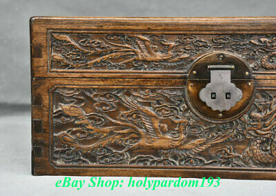 "12"" Old Chinese Huanghuali Wood Carving Palace Dragon Phoenix Jewel Case or Box 3"