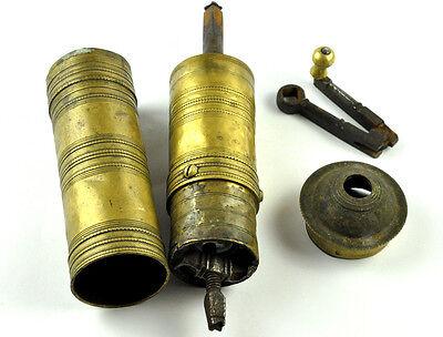 Primitive Antique Brass Ottoman Coffee Spice Grinder Mill Crank  vtg 3 Tugra 4