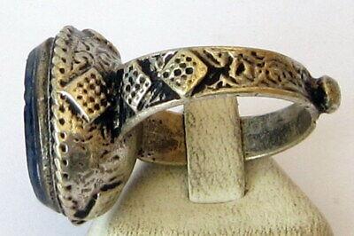 Antique Amazing Ottoman Silver Lapis Lazuli Intaglio Gem Personal Seal Ring # 31 7