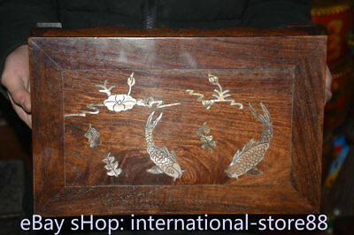 """14.4"""" Old Chinese Dynasty Huanghuali Wood Inlay Shell Fish Table Desk furniture 2"""