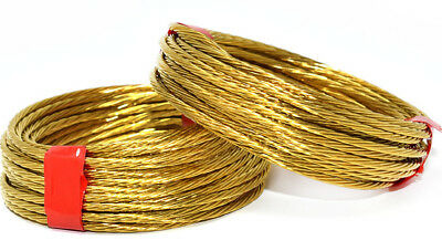 STRONG BRASS No.3 BRASS COILS PICTURE PHOTE HANGING WIRE 3m BRAIDED 1.35mm 18kg 2