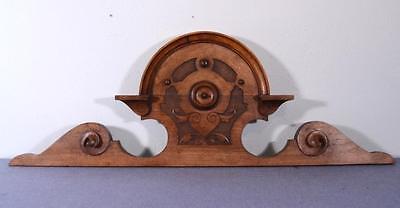 "37"" German Antique Biedermeier Pediment Crown Walnut Wood Crest 2"