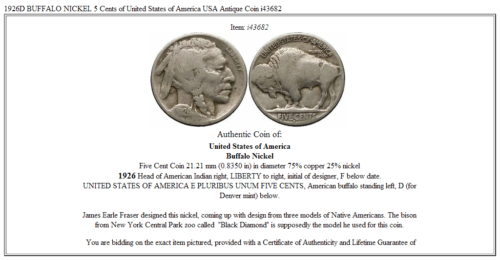 1926D BUFFALO NICKEL 5 Cents of United States of America USA Antique Coin i43682 3