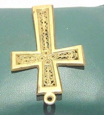 OUTSTANDING VINTAGE BRASS CROSS,ENGRAVING,EARLY 20th. Century !!! # 625 3