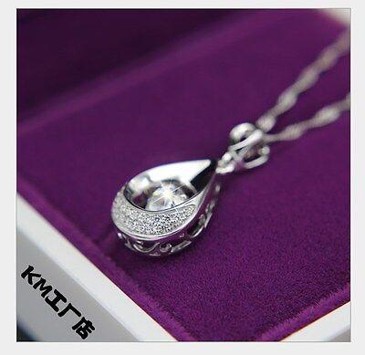 Moving Love Zircone cubique Argent Sterling Halo Larme Coeur Collier Pendentif