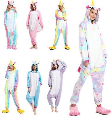 Adulte Kigurumi Pyjama Licorne cosplay combinaison animaux Unicorn Onesie party 2