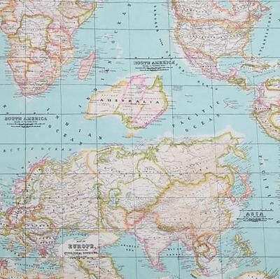 World map 2 globe atlas furnishing fabric cotton material 280cm wide 1 of 9free shipping world map 2 globe atlas furnishing fabric cotton material 280cm wide sky blue gumiabroncs Images