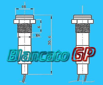 SPIA LED BIANCO 12V DC METALLO TONDA 6mm IP67 auto moto camper nautica indicator