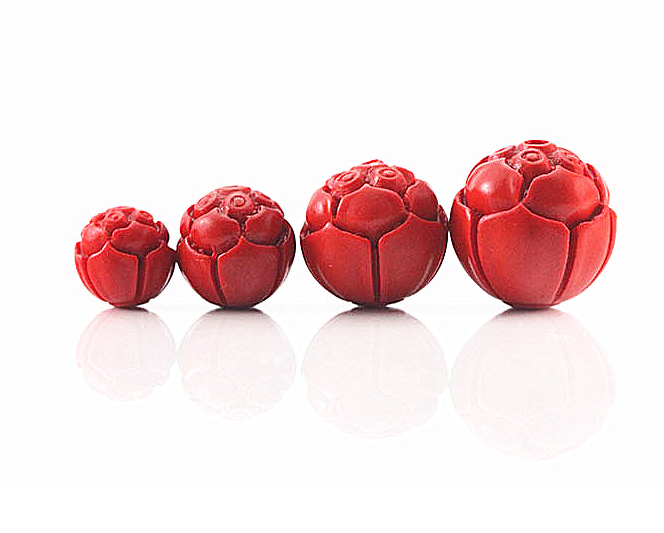 10pcsRed Cinnabar LotusSeedsCharmBeads Round Carved Fashion Necklace Finding~8mm 3