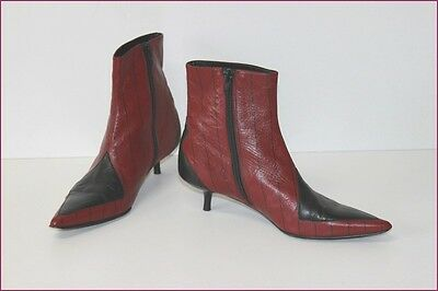Tout BEE Cuir et Boots Noir BOTTINES Pointues Bordeaux FLY Pk0wOn8