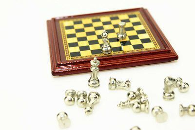 Dollhouse Miniature 1:12 Toy Metal Silver & Golden Chess and Board Set Play Game 4