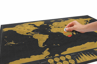 Deluxe Travel Edition Scratch Off World Map Poster Personalized Journal Log