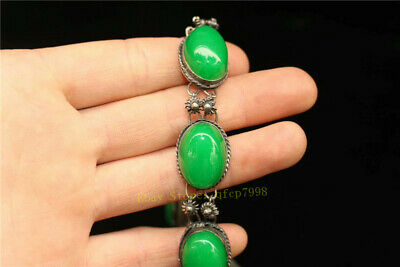 """9.06"""" Collection Old Chinese Tibetan silver Handmade inlay green jade Bracelet 4"""