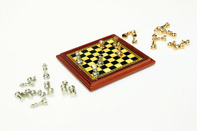 Dollhouse Miniature 1:12 Toy Metal Silver & Golden Chess and Board Set Play Game 5