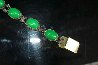 """9.06"""" Collection Old Chinese Tibetan silver Handmade inlay green jade Bracelet 5"""
