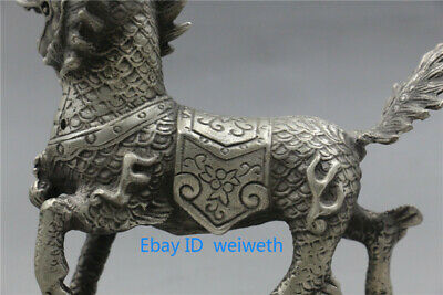 Old Asian Chinese Tibet Silver Hand Carved Dragon Beast Kirin Statue 3