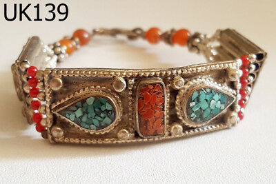 Old Stunning Nepal Tibet Turquoise & Red Coral Silver Mix Bracelet #UK139 2