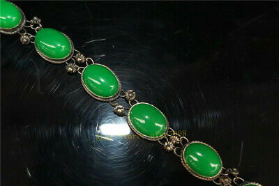 """9.06"""" Collection Old Chinese Tibetan silver Handmade inlay green jade Bracelet 3"""