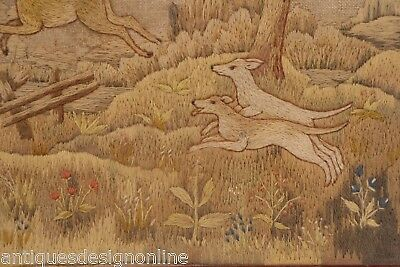 Genuine antique hand stitched tapestry HUNTING SCENE stag hounds dogs needlework