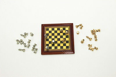 Dollhouse Miniature 1:12 Toy Metal Silver & Golden Chess and Board Set Play Game 2
