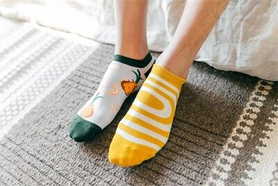 Mens Cotton Ankle Socks Novelty Animal Fruit Funny Asymmetric Unisex Dress Socks 3
