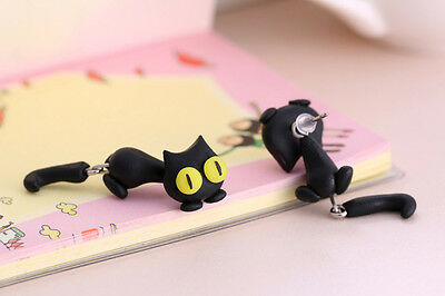 1 Pair Fashion Jewelry Women's 3D Animal Cat Polymer Clay Ear Stud Earring J&S 11