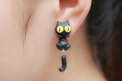 1 Pair Fashion Jewelry Women's 3D Animal Cat Polymer Clay Ear Stud Earring J&S 7