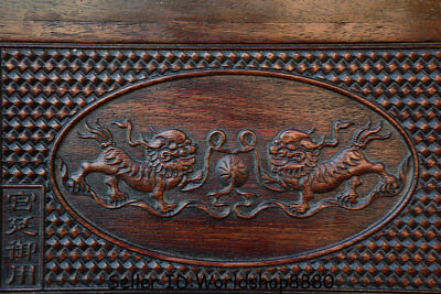 "15.8"" Antique Chinese Dynasty Palace Huanghuali Wood Carved Lion Dog Table Desk 4"