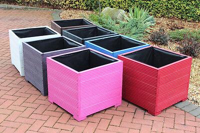 Grey 56x56x53 Large Square Wooden Garden Planter Troughs cm Plant Pots