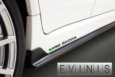 Skoda VRS 2x Side Skirt Stickers Car Decals Graphics DEFAULT BLACK/GREEN/RED