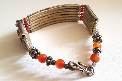 Old Stunning Nepal Tibet Turquoise & Red Coral Silver Mix Bracelet #UK139 4