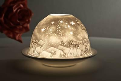 Windlicht Porzellan DL 0064 WEIHNACHTSTRAUM Dome Light 12 x 12 x 8 cm weiss
