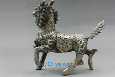 Old Asian Chinese Tibet Silver Hand Carved Dragon Beast Kirin Statue 4