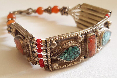 Old Stunning Nepal Tibet Turquoise & Red Coral Silver Mix Bracelet #UK139 3