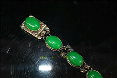 """9.06"""" Collection Old Chinese Tibetan silver Handmade inlay green jade Bracelet 2"""