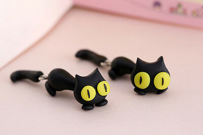 1 Pair Fashion Jewelry Women's 3D Animal Cat Polymer Clay Ear Stud Earring J&S 8