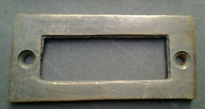 "6 antique vintage brass file cardholder label holder 2 3/16"" x 1"" #F3"