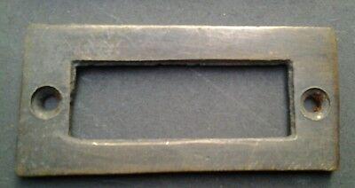 """6 antique vintage brass file cardholder label holder 2 3/16"""" x 1"""" #F3 5"""