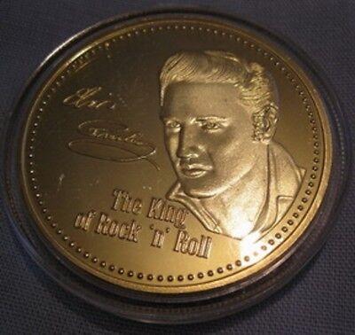 ELVIS PRESLEY Gold Coin King of Rock n Roll Pop Music Singer Legend Medallion US 5